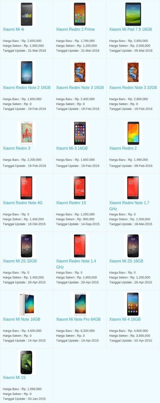 Daftar Harga Terbaru Hp Xiaomi April 2016