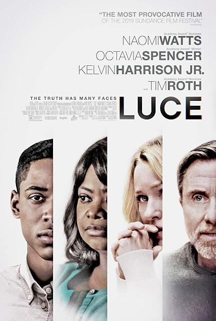 Movie poster for Neon's 2019 drama film Luce, starring Kelvin Harrison Jr., Naomi Watts, Octavia Spencer, and Tim Roth