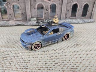 A Hotwheels car ready for Gaslands
