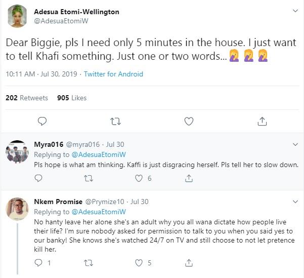 BBNaija: Adesua Etomi says she needs 5 minutes in BBNaija house with Khafi
