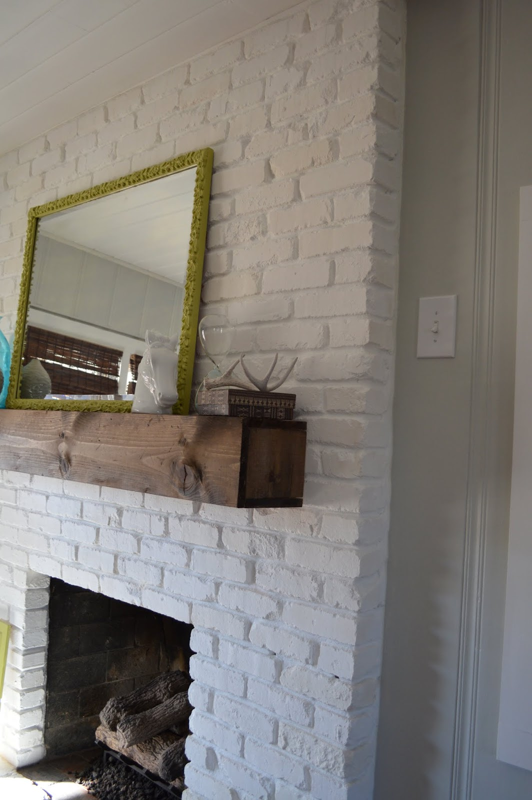 Hello Darlington One Shade Of Gray White Fireplace Surround Rustic Electric Mantels Distressed Mantel
