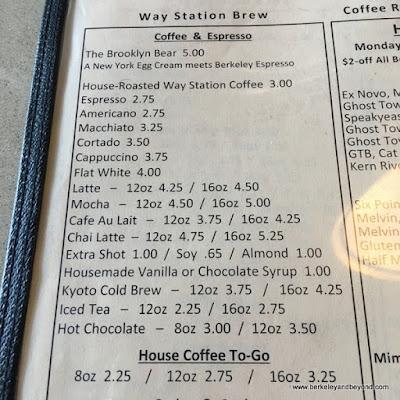 coffee menu at Way Station Brew in Berkeley, California