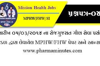 MPHW/FHW/SI OLD PEPAR by GSSSB Board (Exam Date:-05-03-2014)