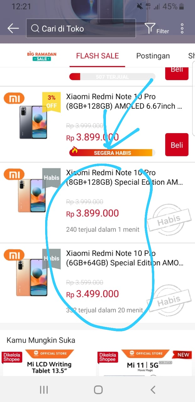 flash sale Xiaomi Redmi Note 10 Pro di Shopee