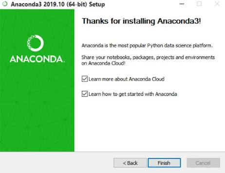 The last dialog box in the Anaconda3 installation process.