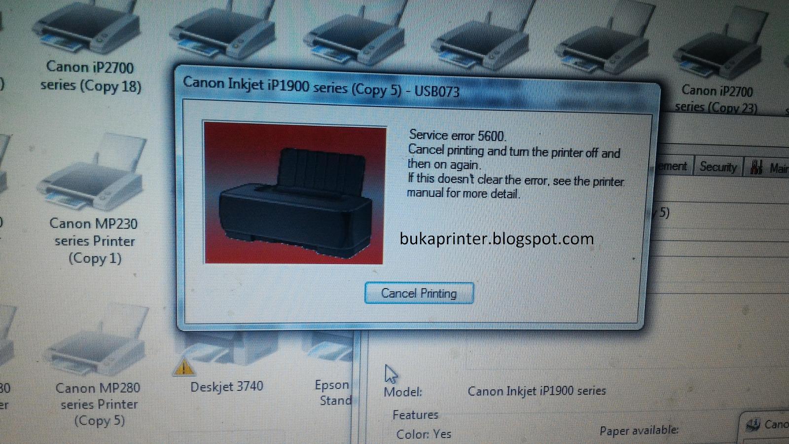 Trik Cara Mengatasi Printer Canon Ip1980 Dan Ip1880 Error 5600 Dokter Printer
