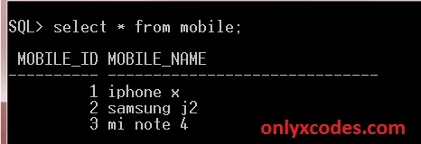type SQL select query in oracle SQL command line