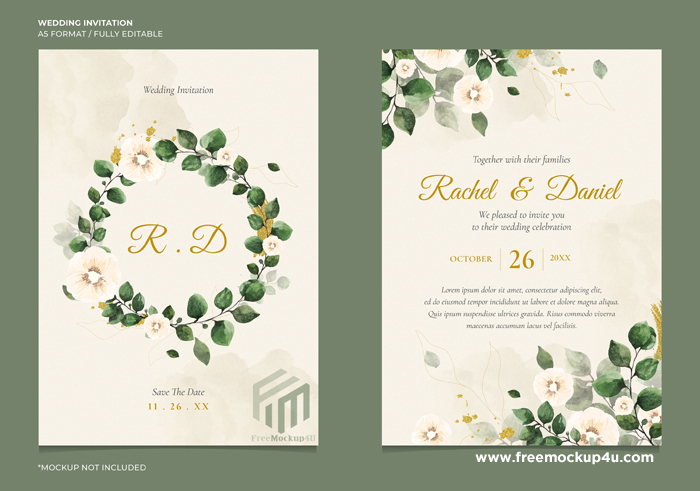 Minimal Wedding Invitation With Floral Water Color