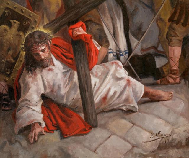 Jesus Cristo cai carregado a Cruz