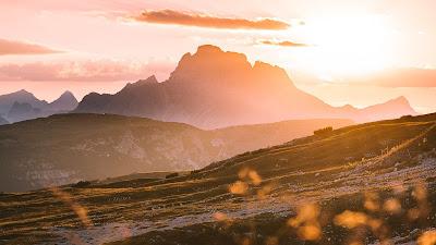 Wallpaper mountain, sunset, dusk, landscape