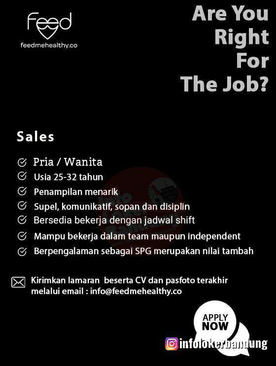 Lowongan Kerja Sales Feedmehealthy Bandung Desember 2019