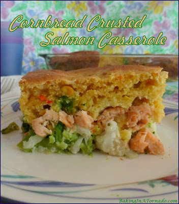 Cornbread Crusted Salmon Casserole, vegetables and salmon fillets topped with a cornbread crust and baked together for a healthy dinner. | Recipe developed by www.BakingInATornado.com | #recipe #dinner