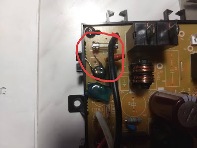 Defective Varistor on outdoor unit PCB.