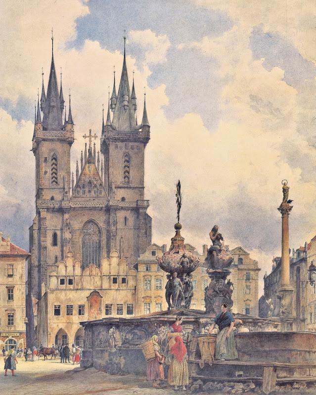 Rudolf von Alt - Die Teynkirche in Prague 1843