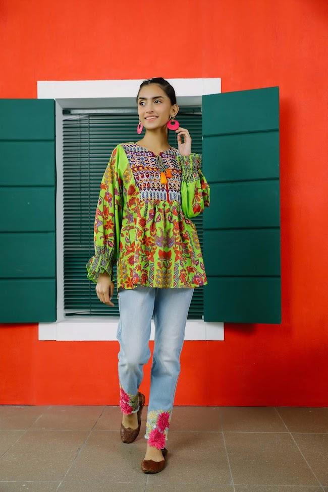 Ethnic Kurti Green Colour Collection