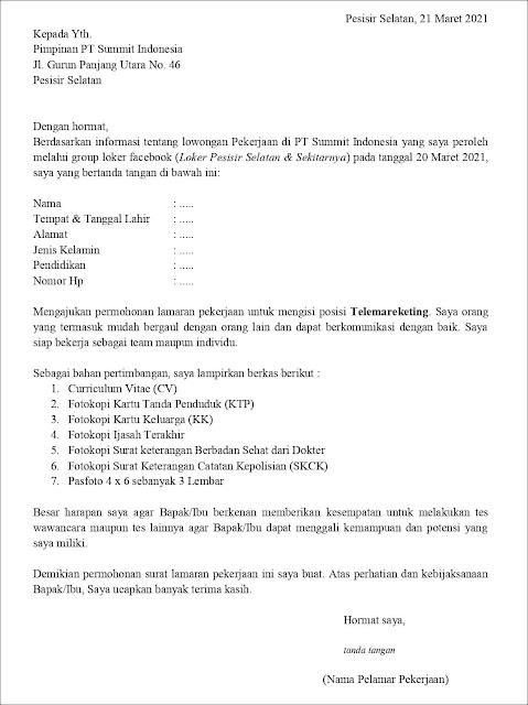 Contoh application letter Untuk Telemarketing (Fresh Graduate) Berdasarkan Informasi dari Media Sosial