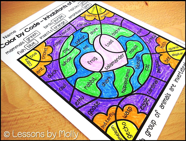 "Earth Day is on April 22nd!  Celebrate the event with your students with this free ""Color by Code"" printable.  There are five animal groups that are classified as vertebrates.  They include mammals, reptiles, amphibians, fish, and birds.  There is one group of animals classified as invertebrates which are insects.  Students read the animal names in each section of the color by code page and determine the animal's classification.  They then color according to the key provided on the printable."