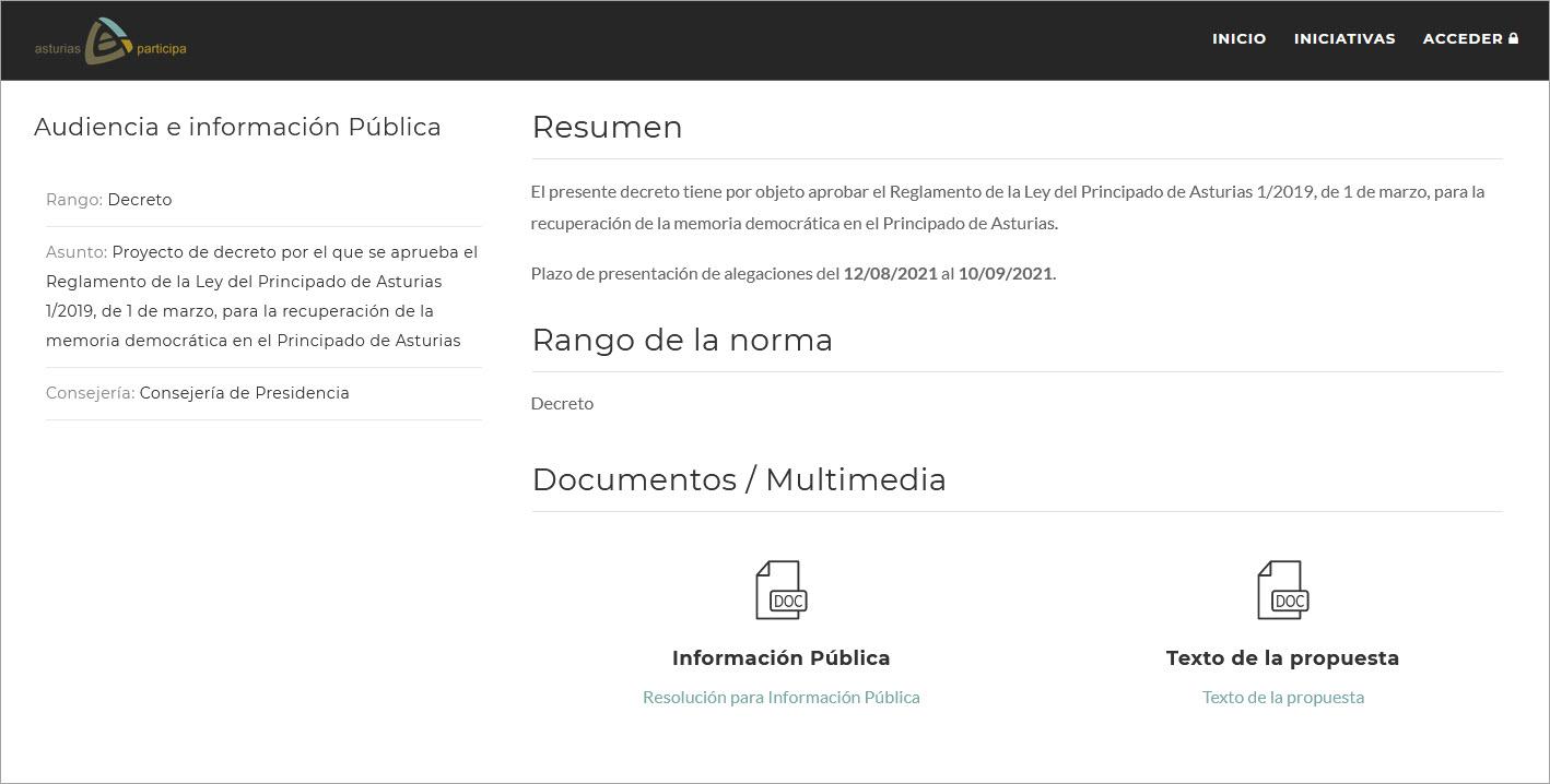 Asturias Participa. Audiencia e información para la propuesta de decreto