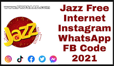 Jazz Free Internet Instagram WhatsApp FB Code 2021