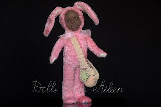 ooak Easter Bunny teddy doll with a bag full of Easter eggs
