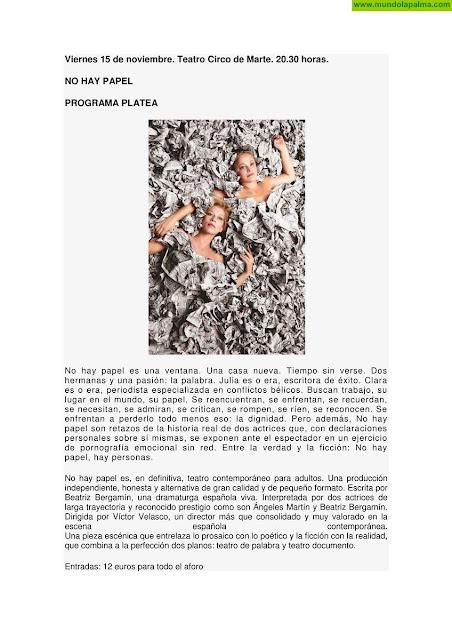 Programación cultural noviembre de 2019 de Santa Cruz de La Palma