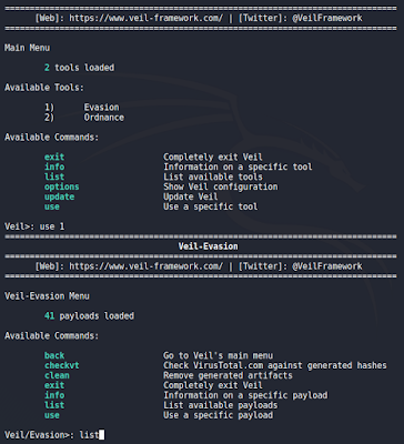 Veil-Framework - Seleccionar tipo y lista de payloads disponibles