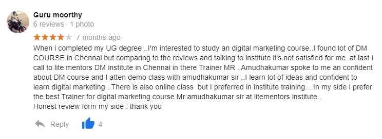 When i completed my UG degree ..I'm interested to study an digital marketing course..I found lot of DM COURSE in Chennai but comparing to the reviews and talking to institute it's not satisfied for me..at last I call to lite mentors DM institute in Chennai in there Trainer MR . Amudhakumar spoke to me an confident about DM course and I atten demo class with amudhakumar sir ..I learn lot of ideas and confident to learn digital marketing ..There is also online class  but I preferred in institute training....In my side I prefer the best Trainer for digital marketing course Mr amudhakumar sir at litementors institute.. Honest review form my side : thank you