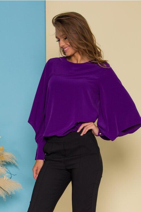 Bluza femei eleganta moderna mov cu decupaje la maneci