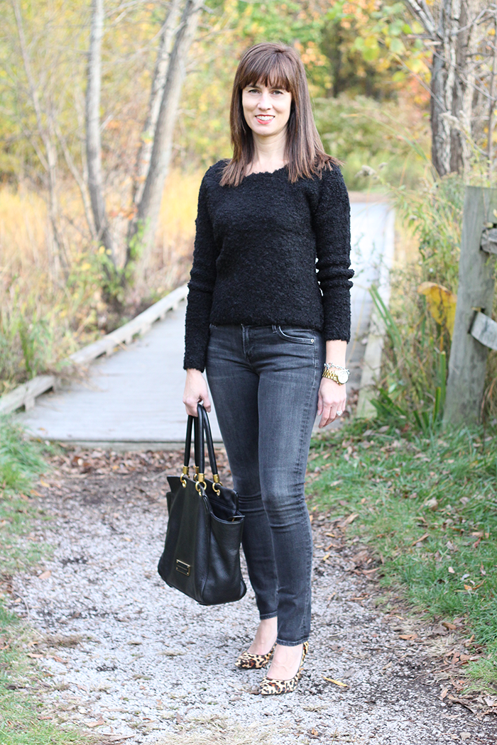 gray jeans, leopard pumps, michael kors watch, skinny jeans, fall style, over 40 style