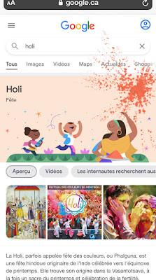 Google Easter Egg Holi, La fête des couleurs