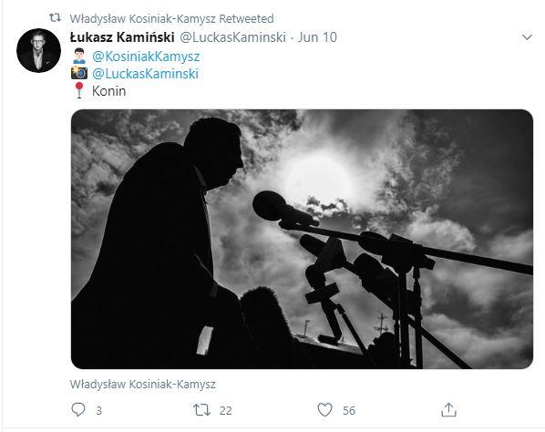 Kontury postaci Władysława Kosiniaka-Kamysza podczas wygłaszania przemówienia