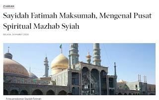 Baca! Artikel Berideologi Syiah yang Menganggap Fathimah Sorang Maksumah
