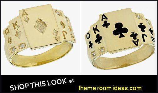 Men's Gold Diamond Poker Rings mes rings mens fashion rings mens designer rings mens dress rings