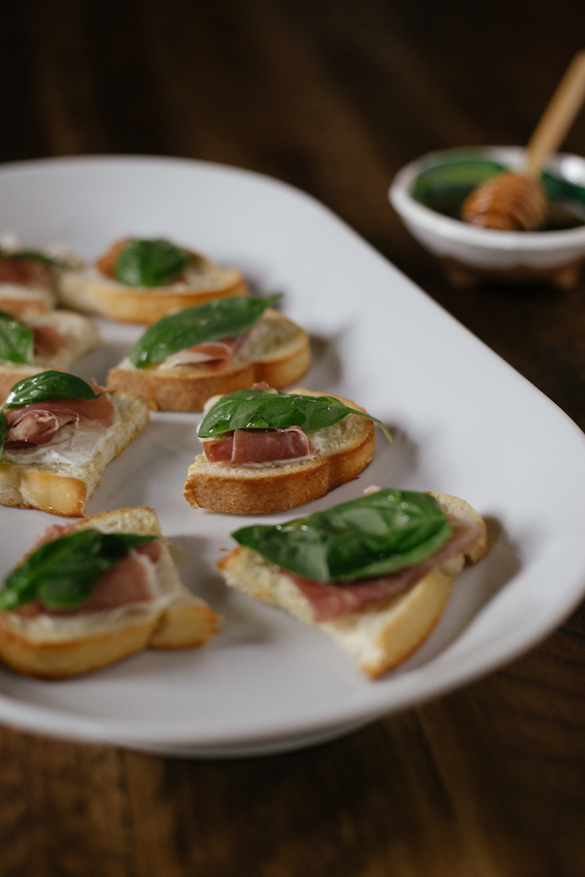Prosciutto, Basil and Honey Crostini | She Learns Things