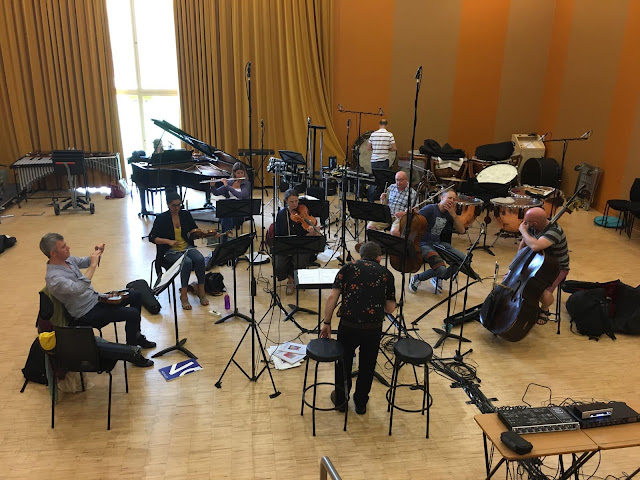 Tom Hammond and Orchestra of the Swan at the recording sessions for Not now, Bernard!