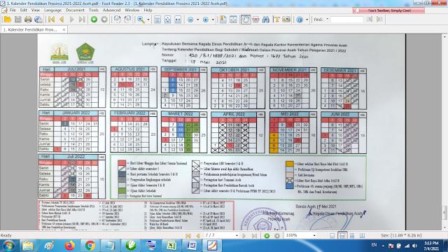 Download Kalender Pendidikan Tahun Pelajaran 2021/2022 Dinas Pendidikan Provinsi Aceh
