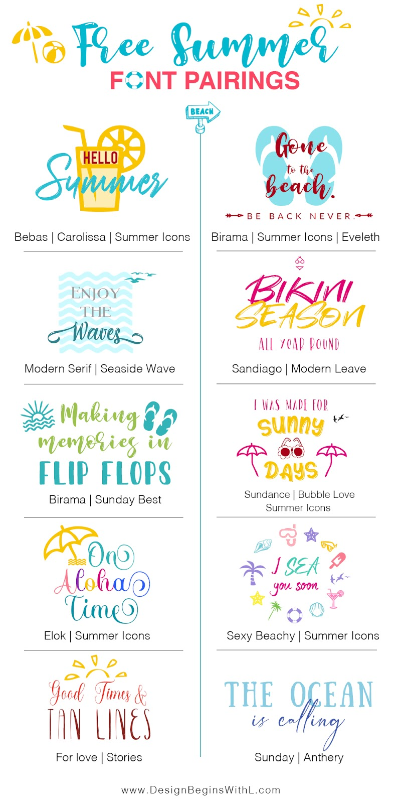 10 Free Summer Font Pairings for DIY Projects