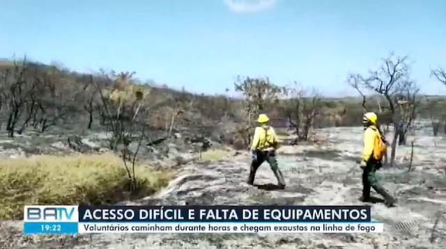 Brigadistas voluntários relatam difícil acesso a focos de incêndio na Chapada Diamantina e falta de equipamentos (Foto: Reprodução/TV Bahia)