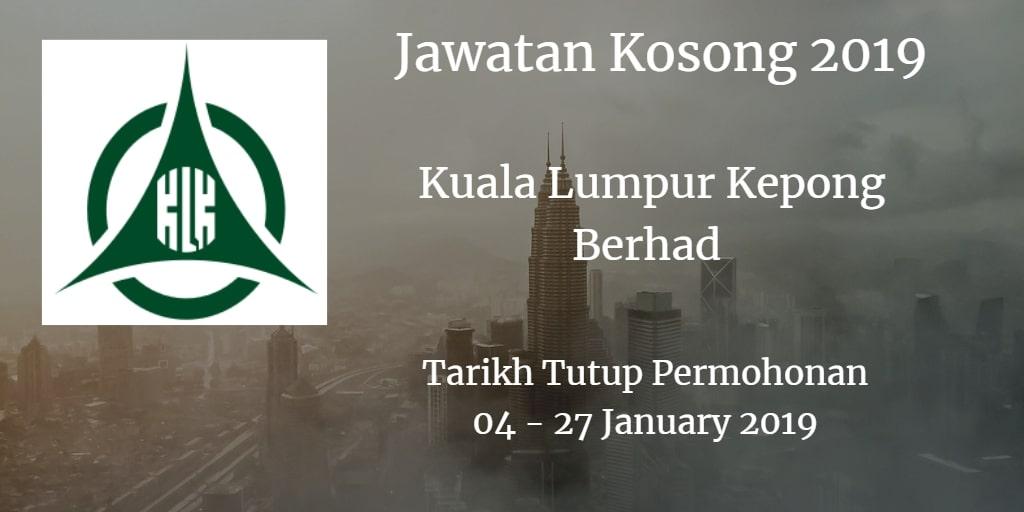 Jawatan Kosong Kuala Lumpur Kepong Berhad 04  - 27 January 2019