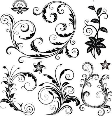 Gambar Dekoratif Pola Elemen Motif Bunga Hitam