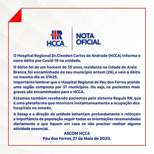 O Hospital Regional Dr.Cleodon Carlos de Andrade (HCCA) informa o nono óbito por Covid-19 na unidade.