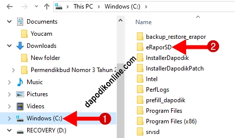 Buka Local Disk C di Laptop Admin dan Klik folder eRaporSD