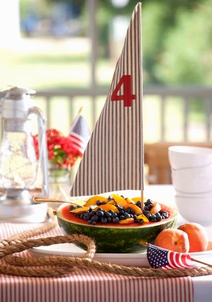 melon boat table centerpiece