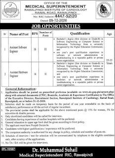 RIC Jobs 2020 Advertisement, Rawalpindi Institute of Cardiology
