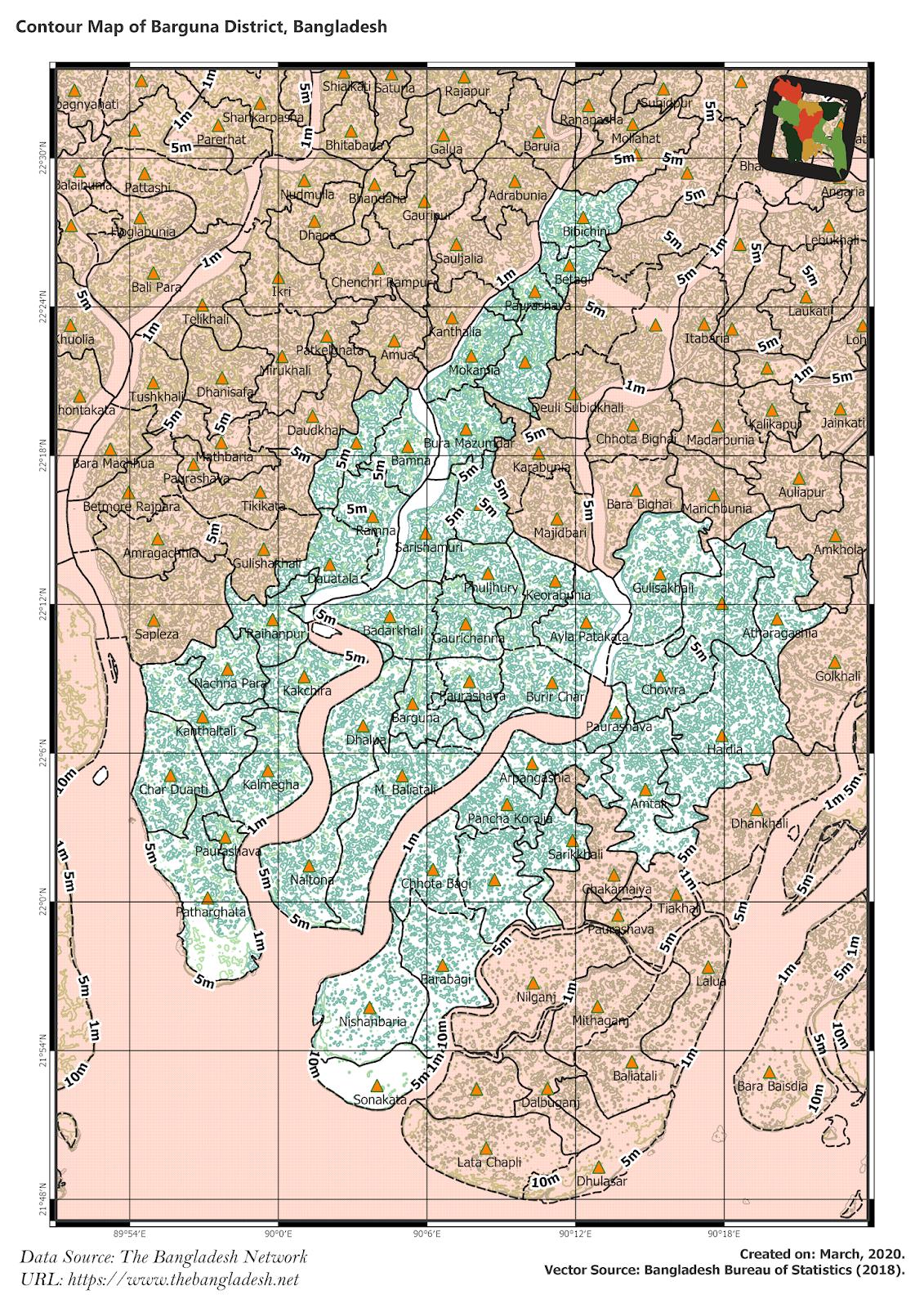Elevation Map of Barguna District of Bangladesh