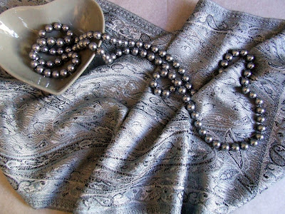 Indian silk scarf in silver paisley pattern