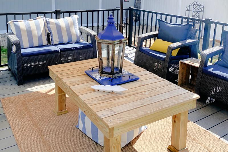 outdoor deck area in blue
