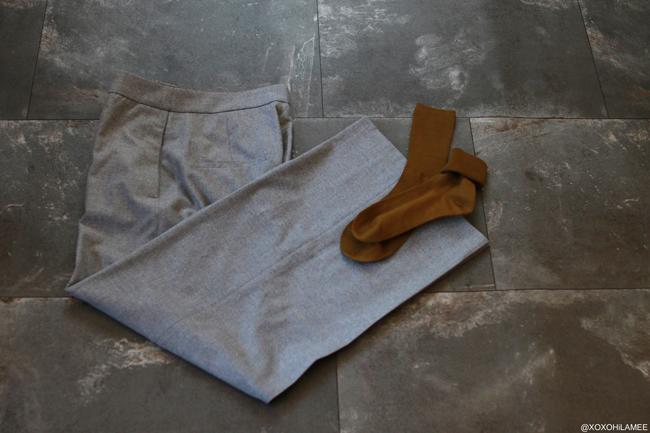 JAPANESE FASHION BLOGGER,MizuhoK,NEWIN,ZARAグレーワイドパンツ、Tabio靴下屋3つ折りソックス