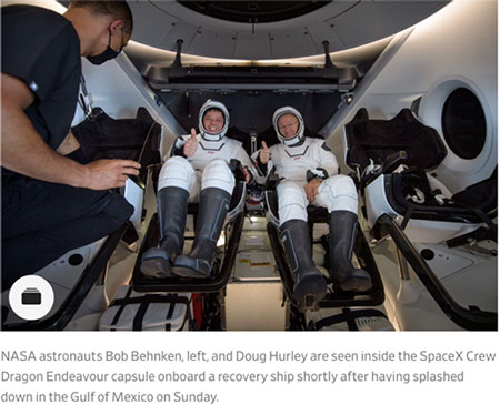 NASA astronauts emerge from the SpaceX Crew Dragon (Source: Wall Street Journal)