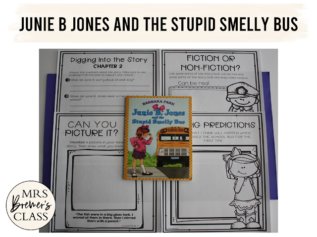 Junie B Jones and the Stupid Smelly Bus literacy companion activities for first and second grade. Aligned to Common Core, TEKS, and VA SOL standards. Students will be making predictions, defining character traits, making connections, answering questions about each chapter, and more!